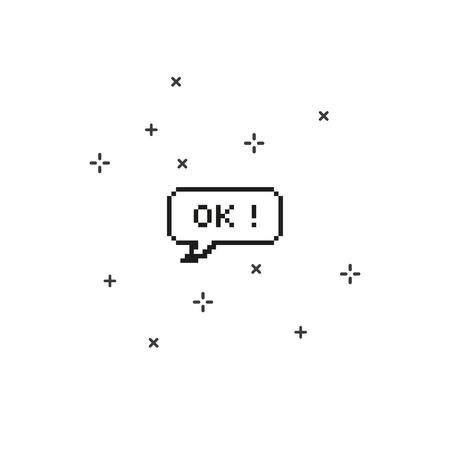 Say ok in speech bubble 8 bit pixel art on white background vector illustration.