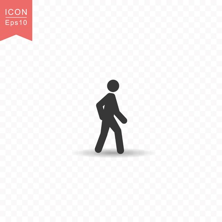 Stick figure a man walking silhouette icon.