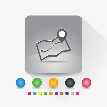 Map icon sign app on gray background vector illustration.