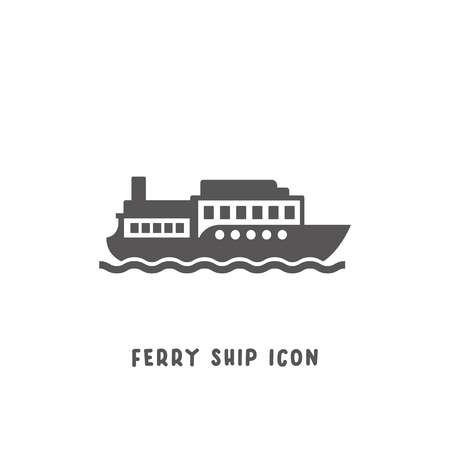 Ferry ship icon simple silhouette flat style vector illustration on white background. 矢量图片