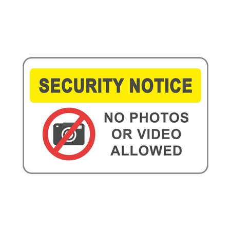 No photos or video allowed signboard simple silhouette flat style vector illustration on white background.