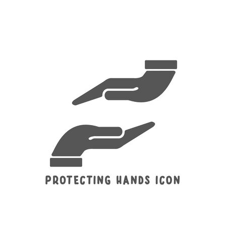 Protecting hands icon simple silhouette flat style vector illustration on white background.