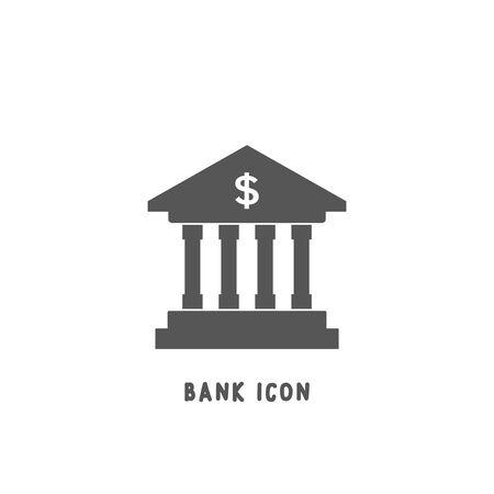 Ilustración de vector de estilo plano de silueta simple de icono de banco sobre fondo blanco. Ilustración de vector