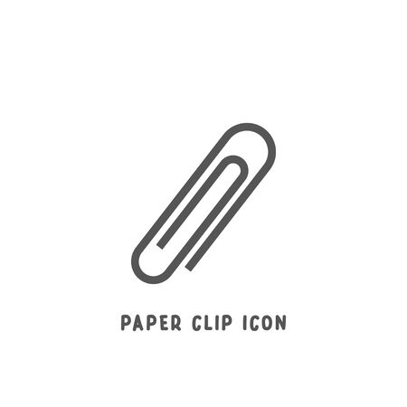 Paper clip icon simple silhouette flat style vector illustration on white background.