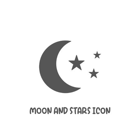 Moon and stars icon simple silhouette flat style vector illustration on white background.