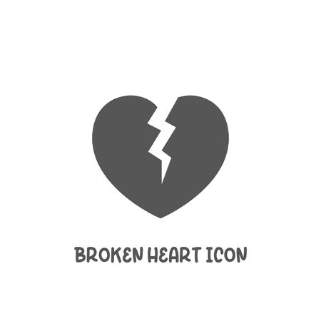 Broken heart icon simple silhouette flat style vector illustration on white background. Иллюстрация