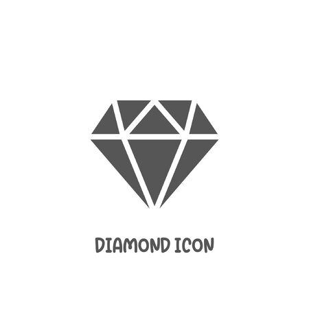 Diamond icon simple silhouette flat style vector illustration on white background.