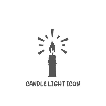 Candle light icon simple silhouette flat style vector illustration on white background.