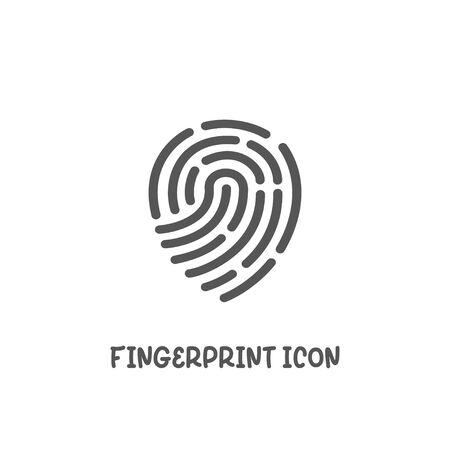 Fingerprint icon simple silhouette flat style vector illustration on white background.