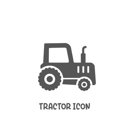 Tractor icon simple silhouette flat style vector illustration on white background. 矢量图像