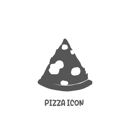 Pizza icon simple silhouette flat style vector illustration on white background.