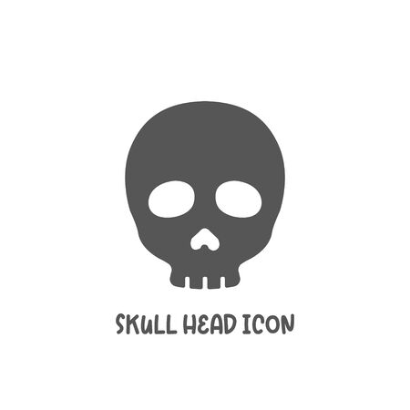 Skull head icon simple silhouette flat style vector illustration on white background.