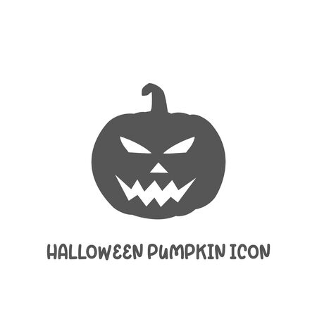 Halloween pumpkin icon simple silhouette flat style vector illustration on white background.