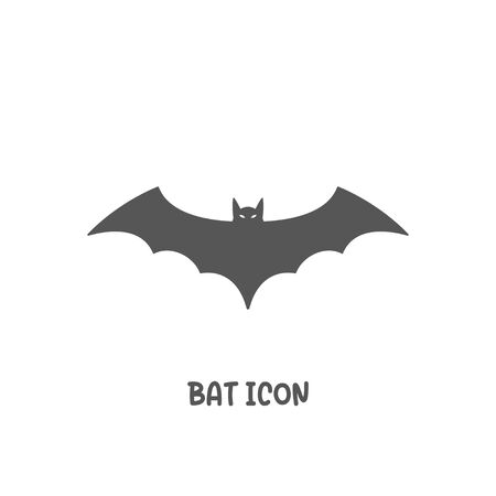 Bat icon simple silhouette flat style vector illustration on white background.