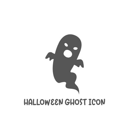 Halloween ghost icon simple silhouette flat style vector illustration on white background.