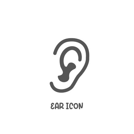 Ear icon simple silhouette flat style vector illustration on white background.