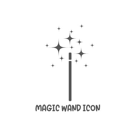 Magic wand icon simple silhouette flat style vector illustration on white background.