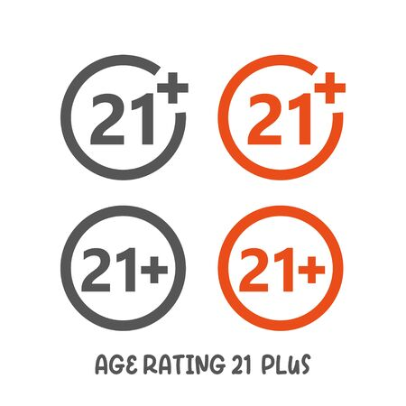 Age rating 21 plus movie icon. Under 21 years sign mark simple silhouette flat style vector illustration on white background.