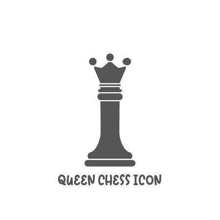 Chess queen piece icon simple silhouette flat style vector illustration on white background. Иллюстрация