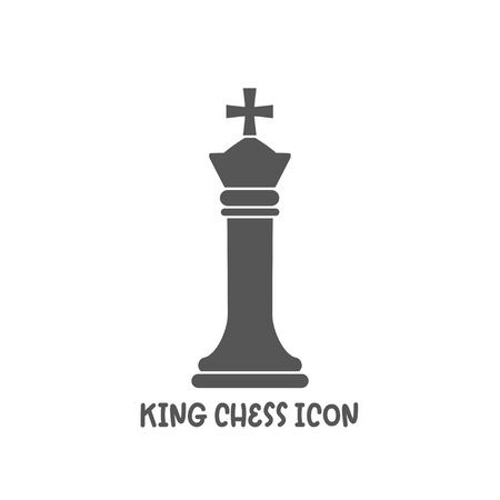 Chess king piece icon simple silhouette flat style vector illustration on white background.