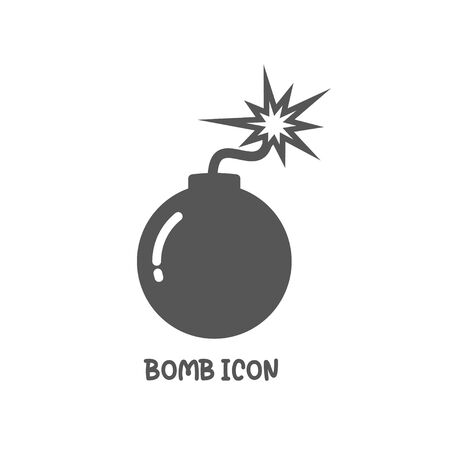 Bomb icon simple silhouette flat style vector illustration on white background.