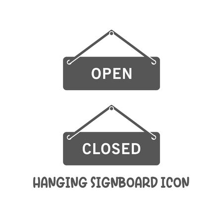 Hanging signboard open closed icon simple silhouette flat style vector illustration on white background. Illustration