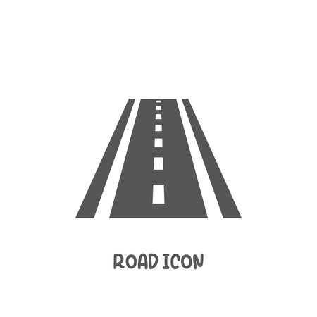 Road icon simple silhouette flat style vector illustration on white background.