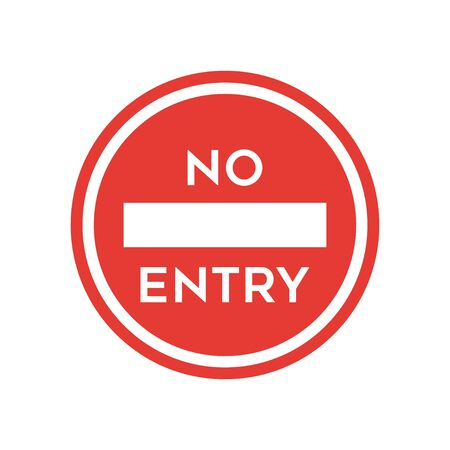 No entry sign icon simple silhouette flat style vector illustration on white background.