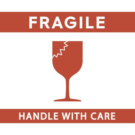 Fragile handle with care sign simple silhouette flat style vector illustration on white background.