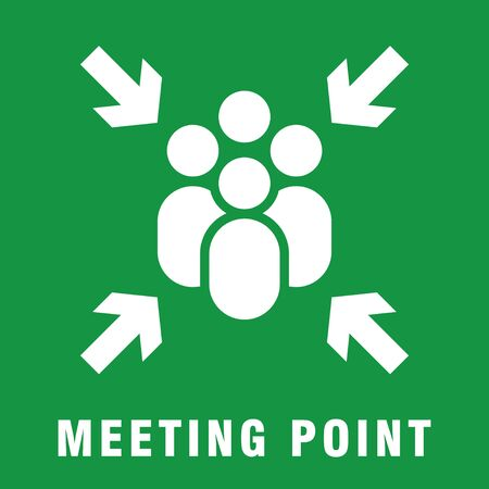 Meeting point or assembly point sign simple silhouette flat style vector illustration on green background.