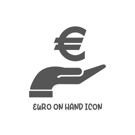Euro on hand icon simple silhouette flat style vector illustration on white background.