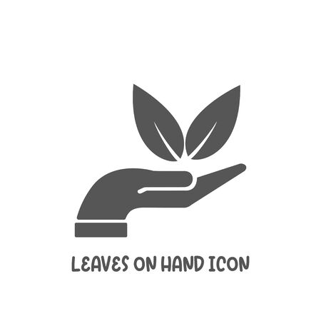 Leaves on hand icon simple silhouette flat style vector illustration on white background.