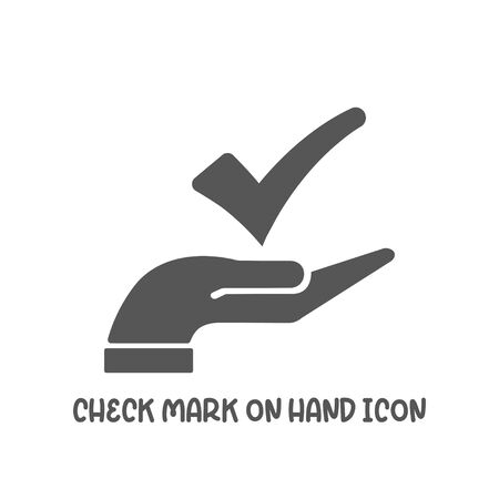 Check mark on hand icon simple silhouette flat style vector illustration on white background.