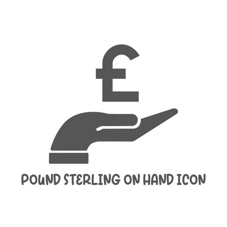 Pound sterling on hand icon simple silhouette flat style vector illustration on white background. Illustration