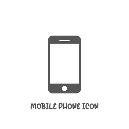Mobile phone icon simple silhouette flat style vector illustration on white background. Illustration