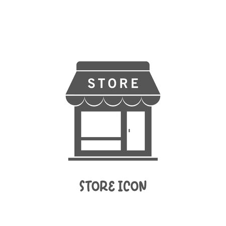 Store shop icon simple silhouette flat style vector illustration on white background.