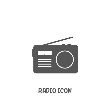 Radio icon simple silhouette flat style vector illustration on white background.