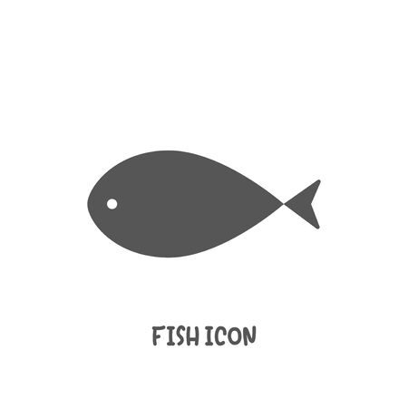 Simple fish icon simple silhouette flat style vector illustration on white background. Illustration