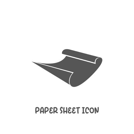 Paper sheet icon simple silhouette flat style vector illustration on white background. Иллюстрация
