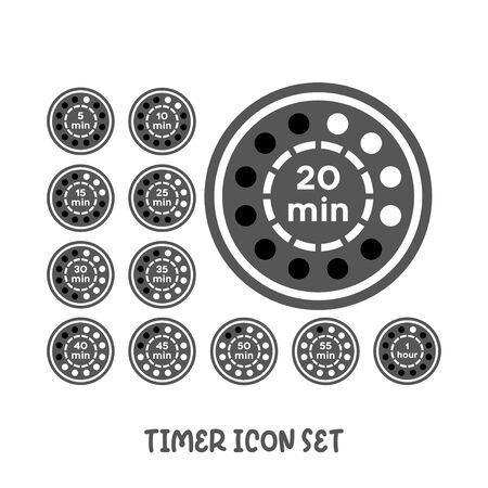 Timer icon set icon simple silhouette flat style vector illustration on white background. Illustration
