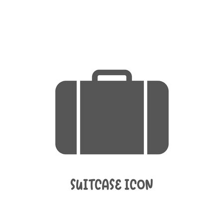 Suitcase icon simple silhouette flat style vector illustration on white background. Vettoriali