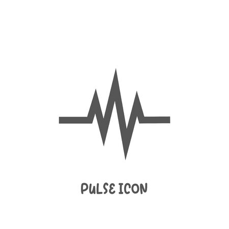 Pulse icon simple silhouette flat style vector illustration on white background. Иллюстрация