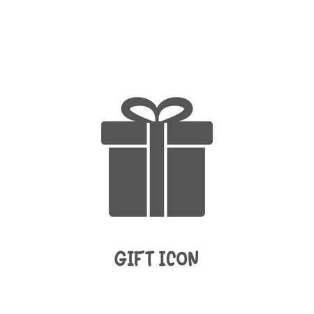 Gift icon simple silhouette flat style vector illustration on white background. Illustration