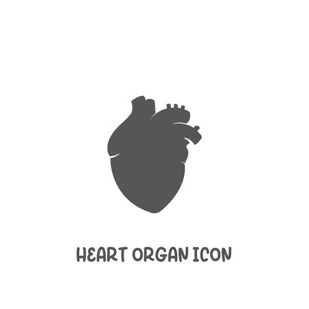 Heart organ icon simple silhouette flat style vector illustration on white background.