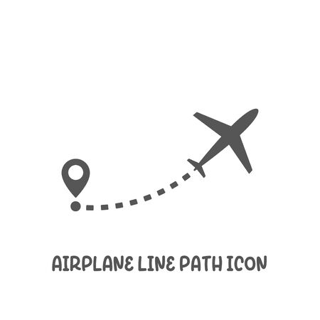 Airplane line path icon simple silhouette flat style vector illustration on white background.