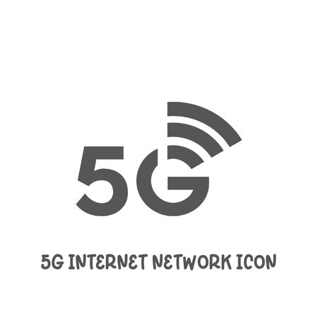 5G internet network icon simple silhouette flat style vector illustration on white background. Иллюстрация