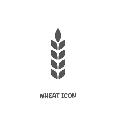Wheat icon simple silhouette flat style vector illustration on white background.