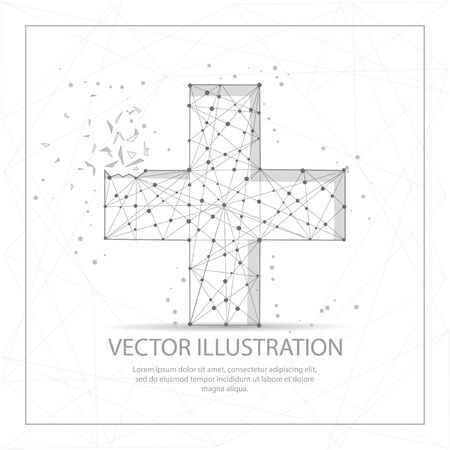 Plus or cross digitally drawn in the form of broken a part triangle shape and scattered dots low poly wire frame.