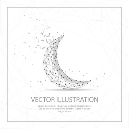 Crescent moon digitally drawn in the form of broken a part triangle shape and scattered dots low poly wire frame.