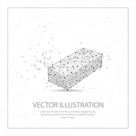 Long box digitally drawn in the form of broken a part triangle shape and scattered dots low poly wire frame.